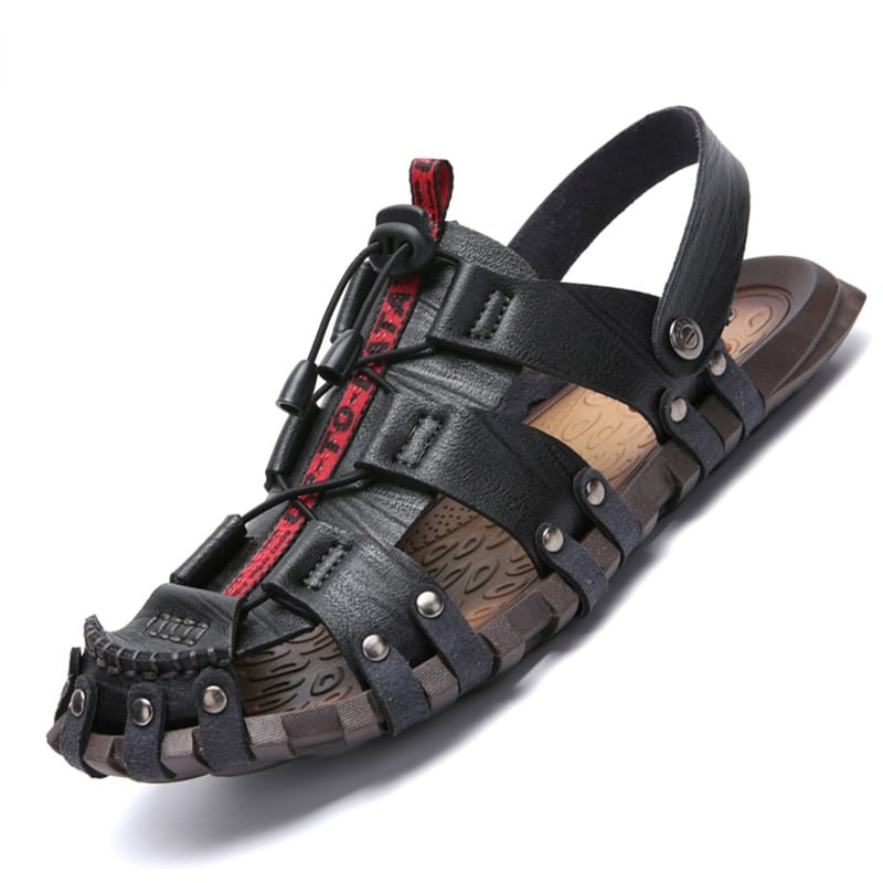 FTSDD32 Mens Summer Sandals Brand Leather Beach Sandals for Male Adult Slip-on Men Casual Shoes Black Big Size