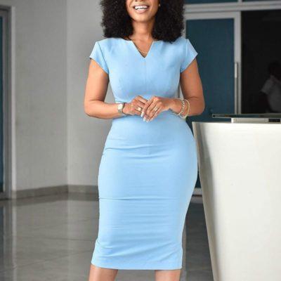 Blue Elegant Short Sleeve Dress