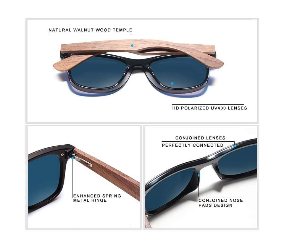 Men's Wooden Frame Polarized Sunglasses