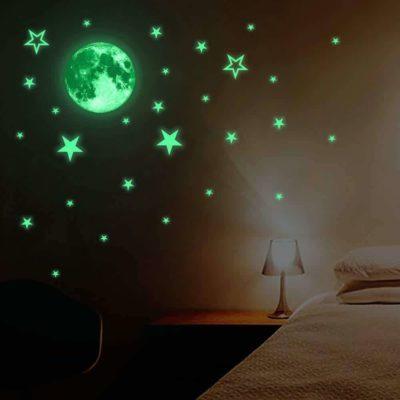 3D Wall Luminous Moon Stars Sticker