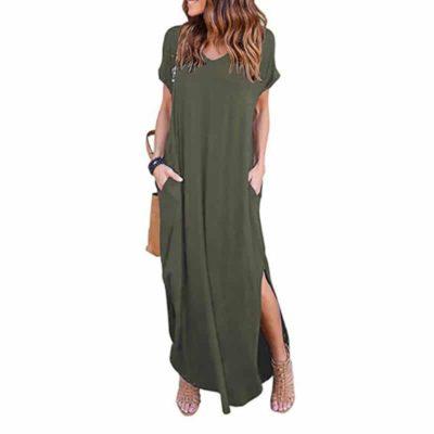 Casual Short Sleeve Maxi Dress