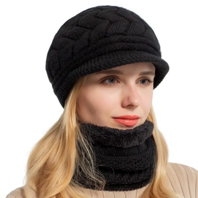 Women Knitted Hat Scarf Cap