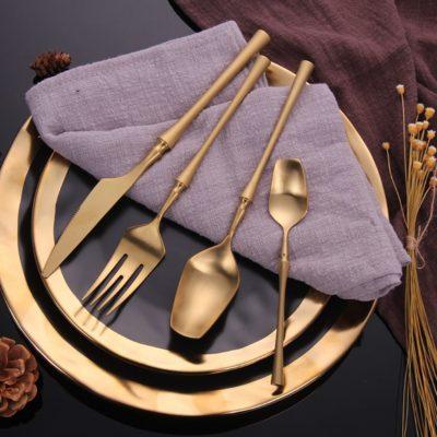 24Pcs/Steel Black Gold Cutlery Set