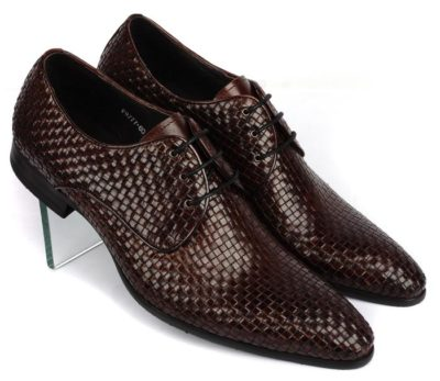 Knitted Leather Men's Dress Shoes