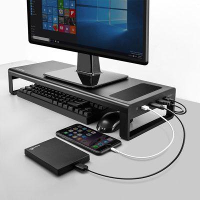USB3.0 Wireless Charging Aluminium Monitor Stand